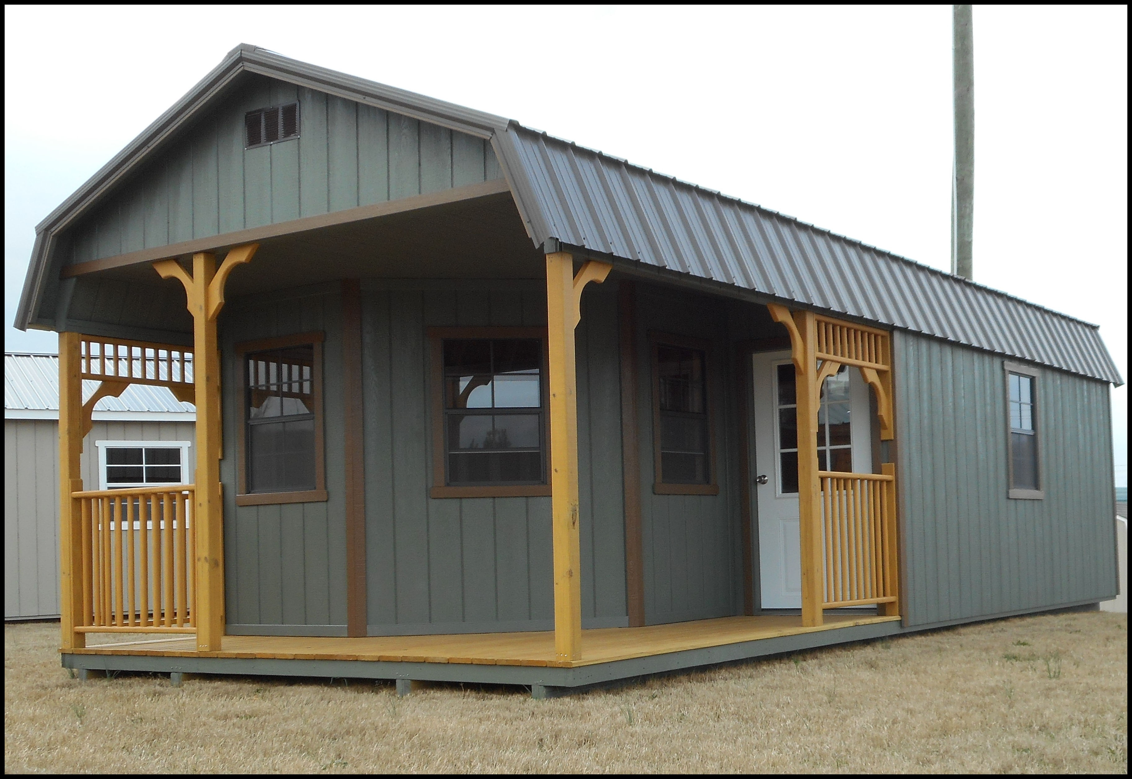 Rent to own storage buildings sheds barns lawn for Shed with loft and porch