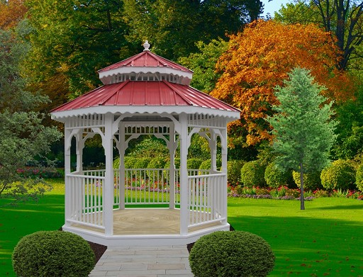 Vinyl Value Gazebo with red roof
