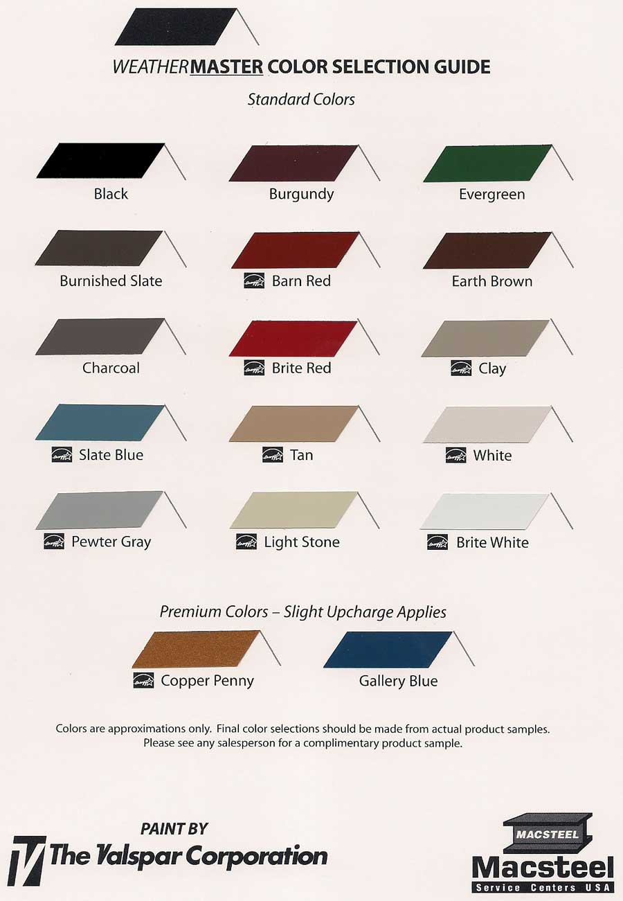 color chart roofing
