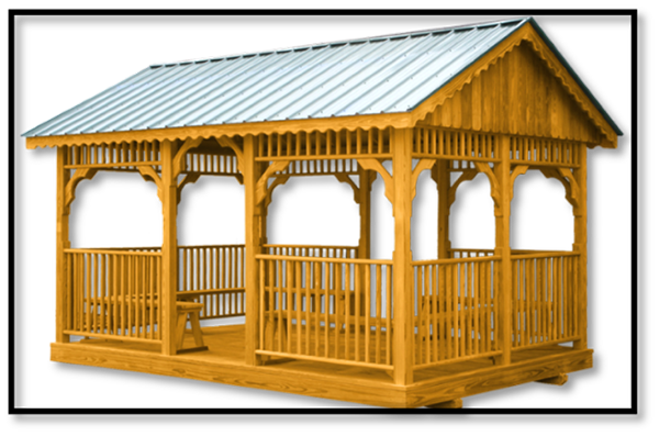 Wood Rectangle Gazebo with benches