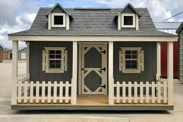 Side Porch Wood Playhouse Picture