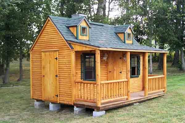 Side Porch D-Log Playhouse Picture