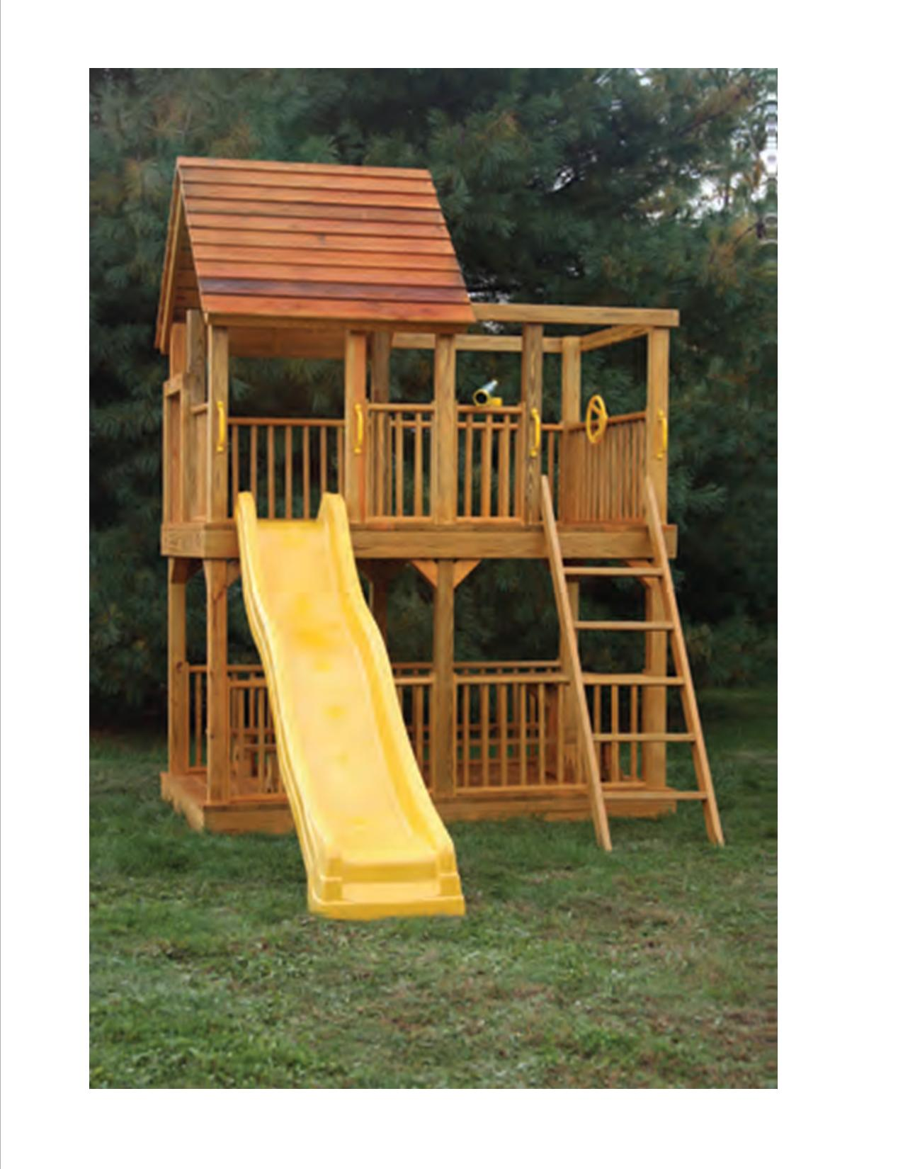 a large 5u0027 x 8u0027 tower with 5u0027 floor height includes picnic table with benches ladder slide safety handles steering wheel and telescope
